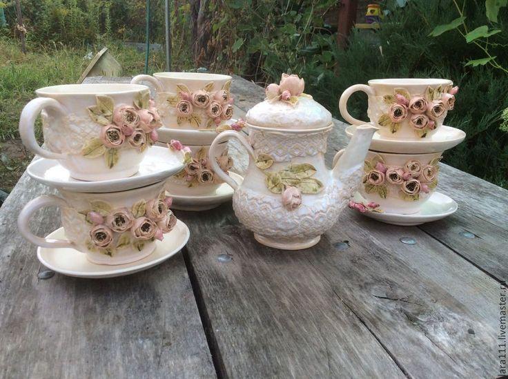 """Купить Сервиз """"нежность"""" - кремовый, роза, чаиник, чай, чашка, сервиз, Блюдце, подарок на свадьбу"""