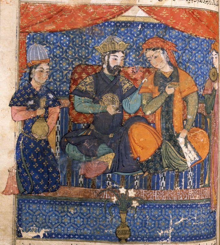 Fatimid manuscript illumination with depiction of a court scene, Islamic Museum, Cairo, Egypt