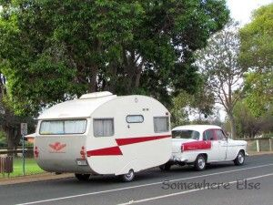#1958 FC Holden towing a 1959 Globetrotter vintage caravan    http://wp.me/p27yGn-127 ***Aah, a Classic Australian Holden, love it!