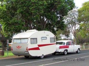 1958 FC Holden towing a 1959 Globetrotter vintage caravan