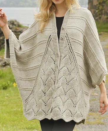 Free Knitting Pattern for Ripple Tide Sweater Wrap -Oversized cardigan in three pieces with lace panels in front and back that add a natural scallop to the hem. Designed by DROPS Design. S/ M – L/XL – XXL – XXXL