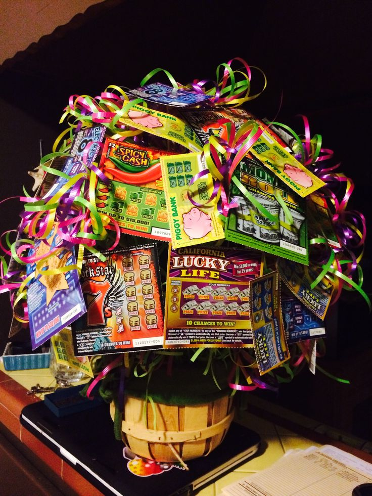 Lottery scratcher tickets gift basket.