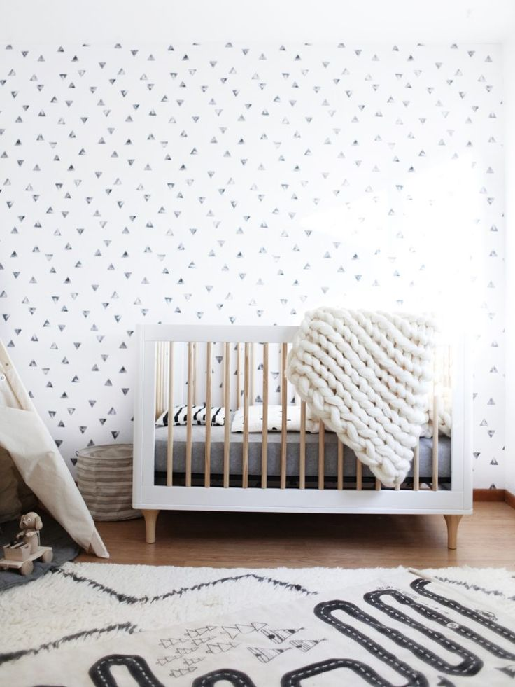 Neutral and modern nursery decor keeping to the black and white color palette…