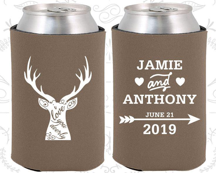 I Love you Deerly, Fun Wedding Gifts, Deer Antler Wedding Favors, Antler Wedding Favors, Arrow Wedding Favors,  Can Koozies  (282)