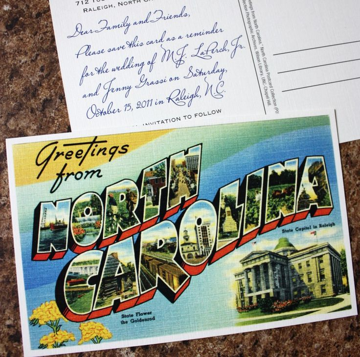 Save the Date - Vintage North Carolina Postcard that used location imagery on a custom postcard