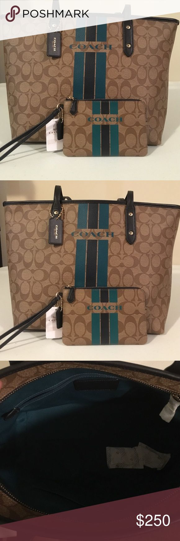 "NWT Coach Varsity City zip Tote with wristlet NWT/ Authentic Coach Tote bag.          Signature coated canvas Inside zip, cell phone and multifunction pockets Dogleash closure, fabric lining Handles with 9 1/2"" drop 17 3/4"" (L) x 10 1/2"" (H) x 5 1/2"" (W). Tote Retail price $295. Wristlet retail price $80.                                   Feel free to make a reasonable offer. Use the offer button. I also sell on Ⓜ️ Thanks for looking NO TRADES Coach Bags Totes"