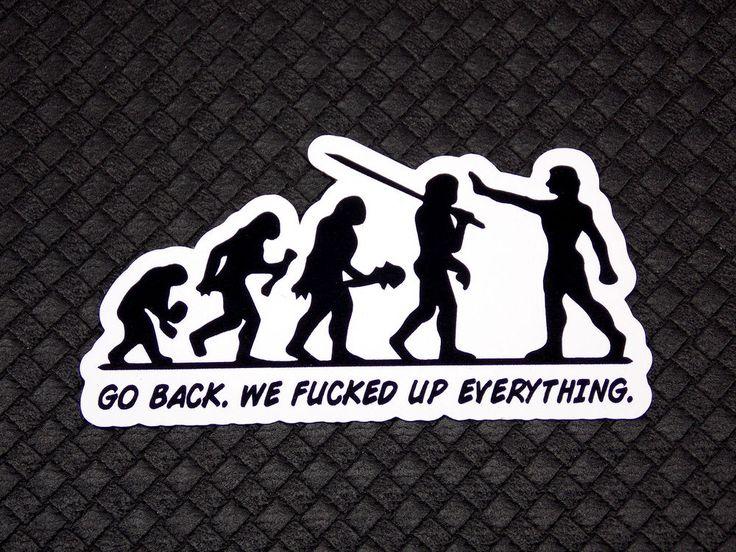 Go Back Evolution Funny Flexible Fridge Refrigerator Magnet Quote Osarix
