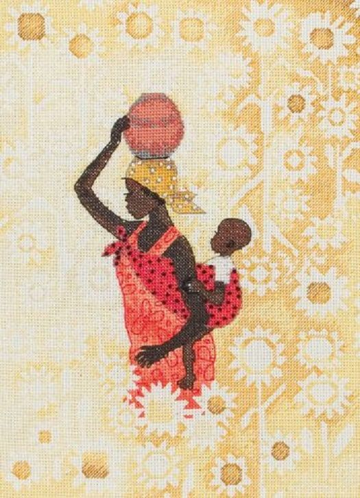 0 point de croix femme africaine et son bébé dans le dos - cross stitch african woman and her baby in her back