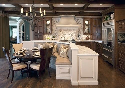Great kitchen table, bench seating, white and dark wood