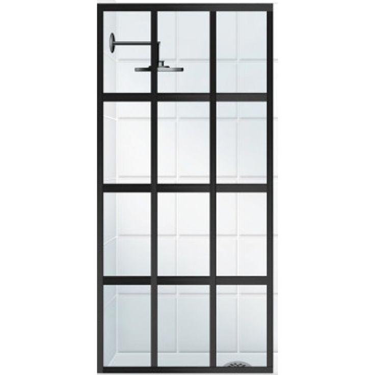 $878 - Coastal Shower Doors Gridscape Series 36-in to 36-in Oil-Rubbed Bronze Fixed Panel Shower Door