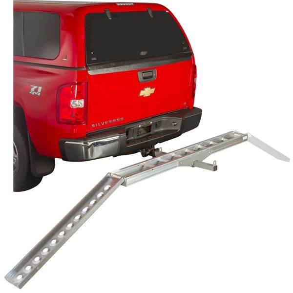 Aluminum motorcycle carrier loading ramp installed to either side of track