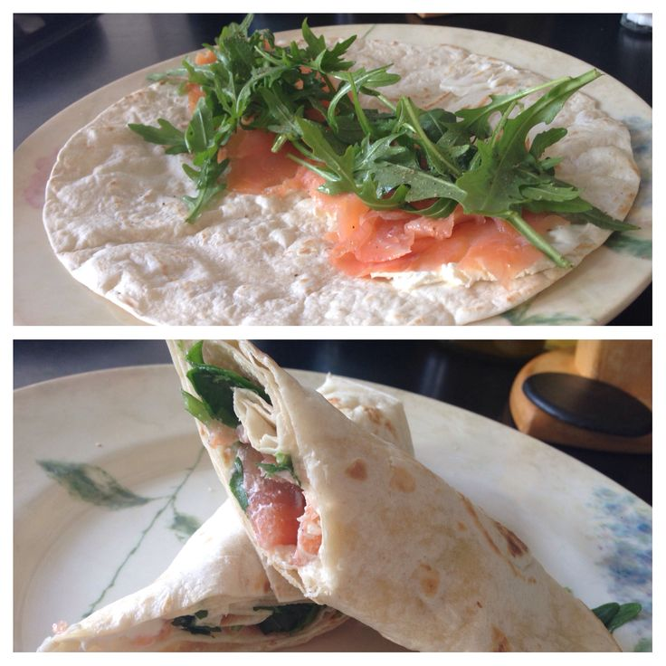 Wrap with smoked salmon, natural philadelphia and rucola