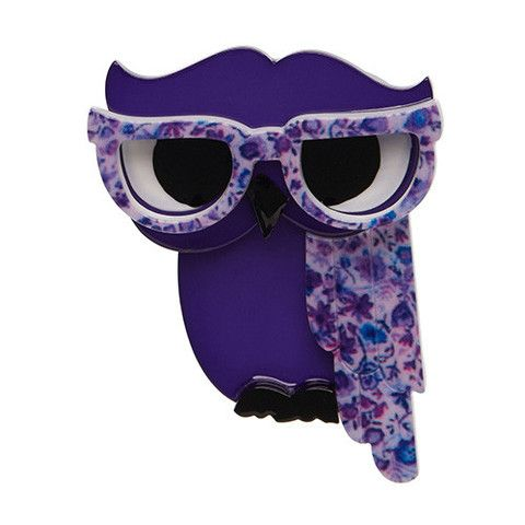"""Erstwilder Limited Edition Waldo the Wacky Wise Owl Brooch. """"He's seldom early to bed and never early to rise yet Waldo still knows what's up!"""""""