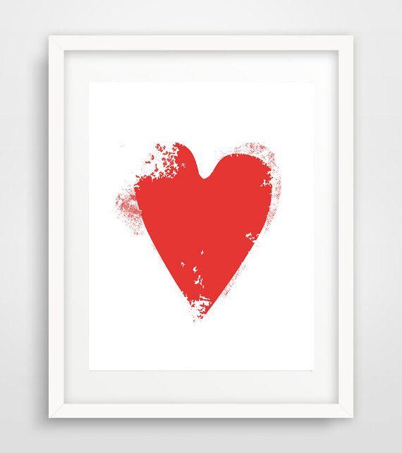 Red Heart Red Heart wall art Red Heart Wall Print by Ikonolexi