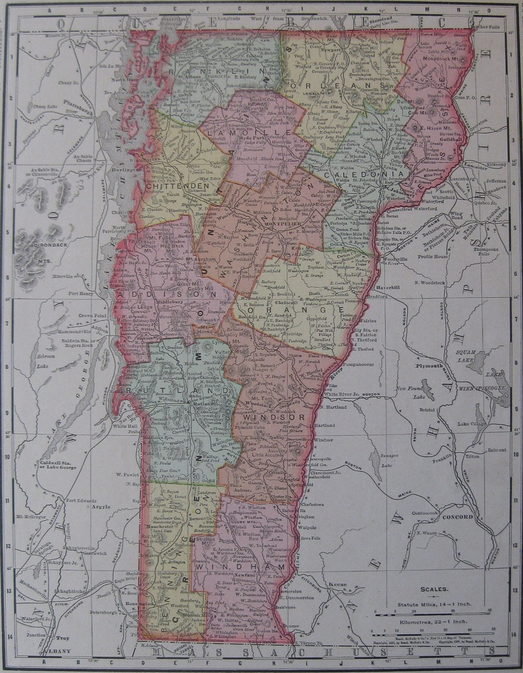 Antique MAP of VERMONT Map 1895 Vintage
