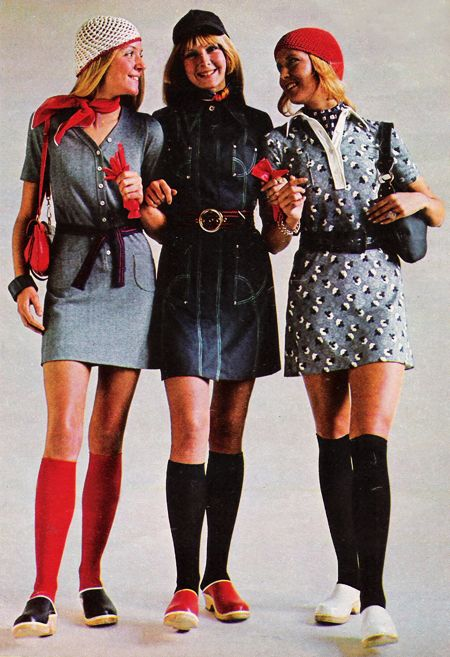 March 1970. 'The Danes have a way with denim and it shows in this clean-lined coat with silver studding…' the hats, the dresses, the knee socks and those clogs