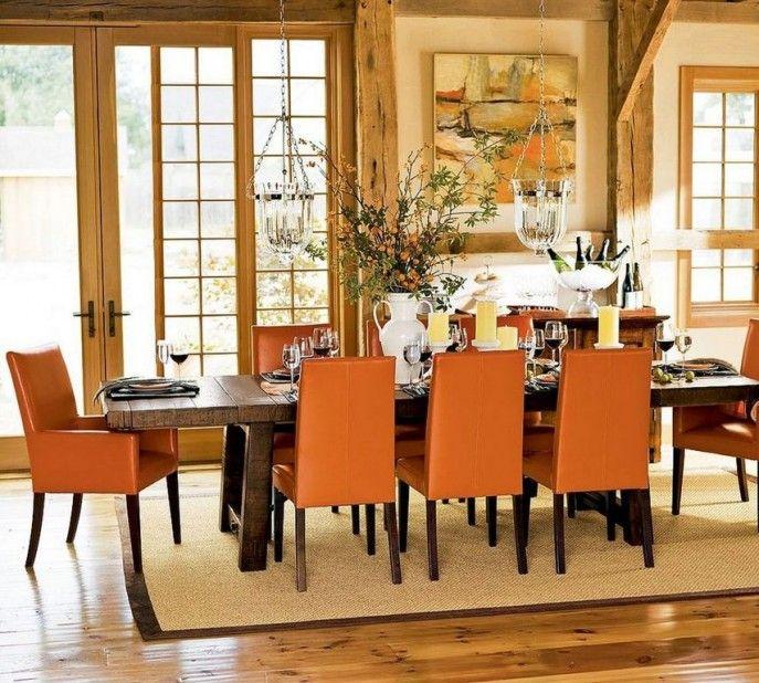 orange dining room - minimalistic design