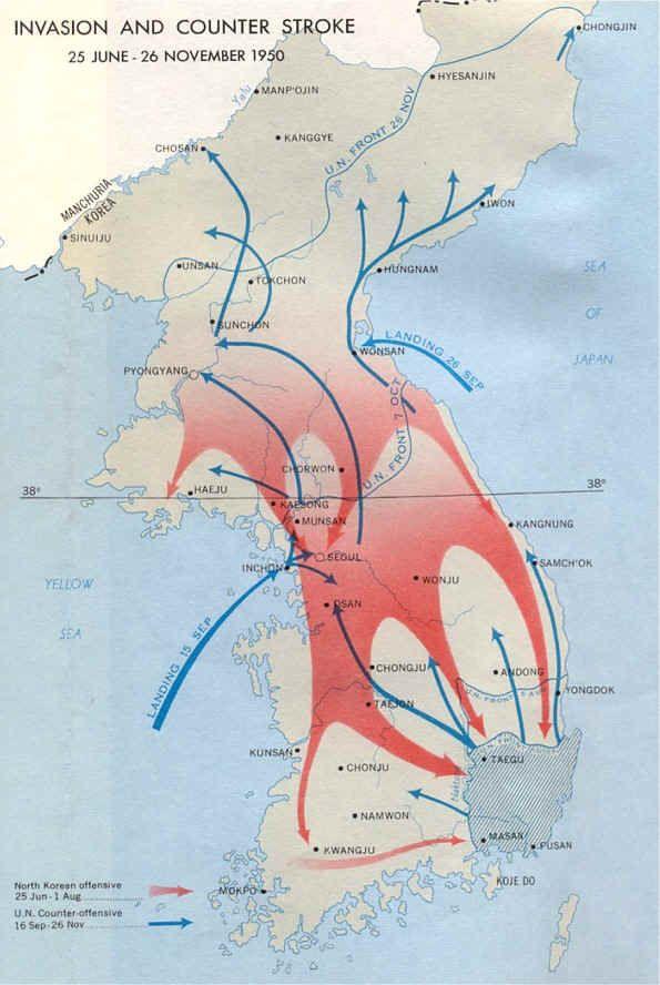 Korean War - A map detailing the events of the Korean War    http://www.hdwallpaperspk.com/wp-content/uploads/2013/04/maps_c1.jpg