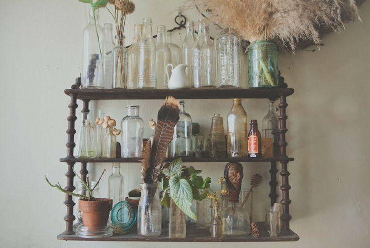 Industry of One interview with Amy Merrick: Bottle Shelf, Seeking Amy, Amy Merrick, Boats People, Glasses Bottle, Feathers, Jars, Happy Fall, Witch Bottle