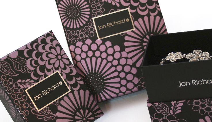 Creative jewellery packaging design and branding for Jon Richards at Debenhams