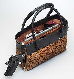 GTM63 Gun Tote'N Mamas Concealed Carry Open Tote Tan Black Suede Leather