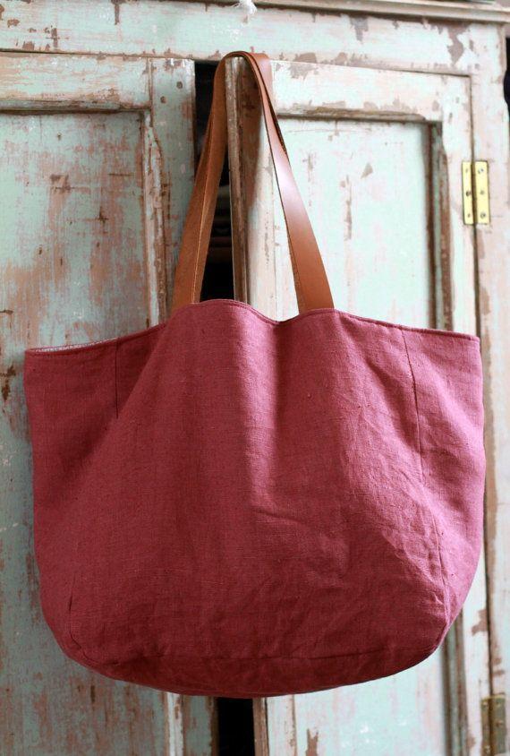 Grand sac cabas en lin Large linen tote leather handles