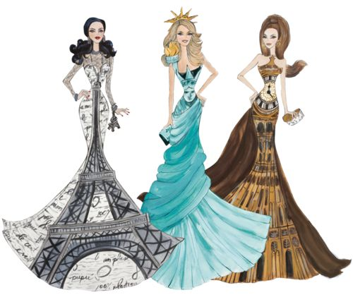 eiffel tower, statue of liberty and big ben dresses