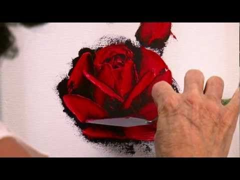 How to Paint a Red Rose in Oil with a Palette Knife in only 10 minutes. - YouTube
