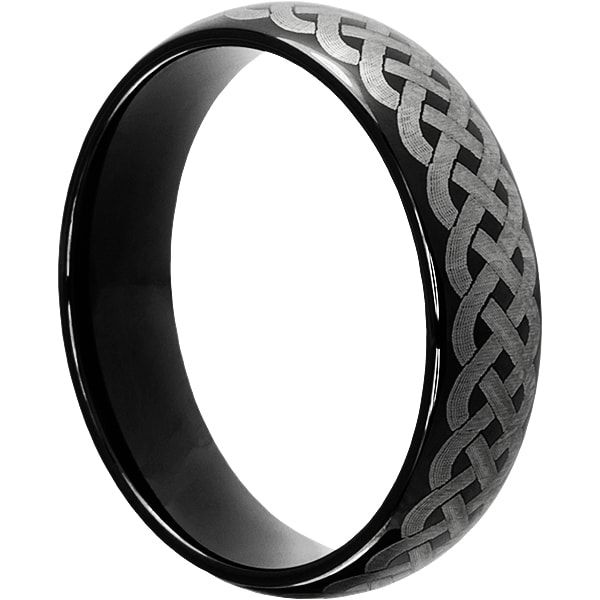Black tungsten Octavian rings are designed to be meaningful. Octavian black Celtic tungsten carbide rings have 3 rope knot worked together.
