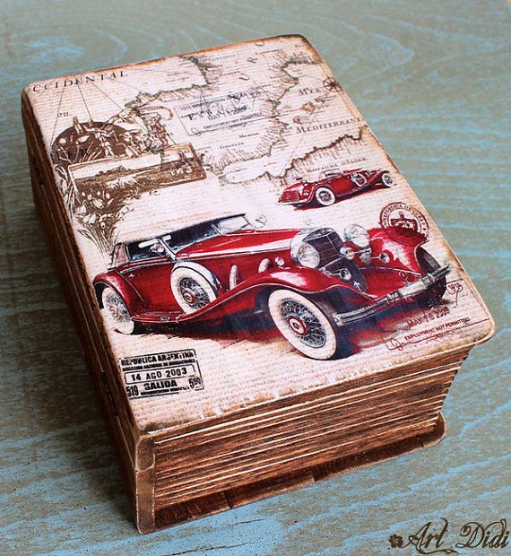 Wooden jewelry box decoupage box Retro car Rustic car box