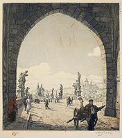 Šimon Tavík František - Průhled branou Staroměstské mostecké věže