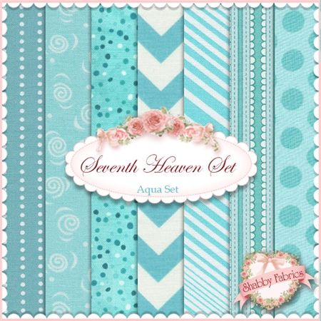 """Seventh Heaven 7 FQ Set - Aqua: This Seventh Heaven Set is an exclusive Shabby Fabrics creation!  We have taken the guesswork out of finding coordinating fabrics.  This set contains 7 coordinating fat quarters, each measuring approximately 18"""" x 21""""."""