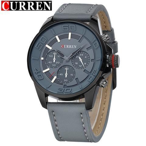 Curren Quartz Mens Watches Waterproof - AuhaShop Men's Watch Affordable Cheap Fashion Products Website Grey