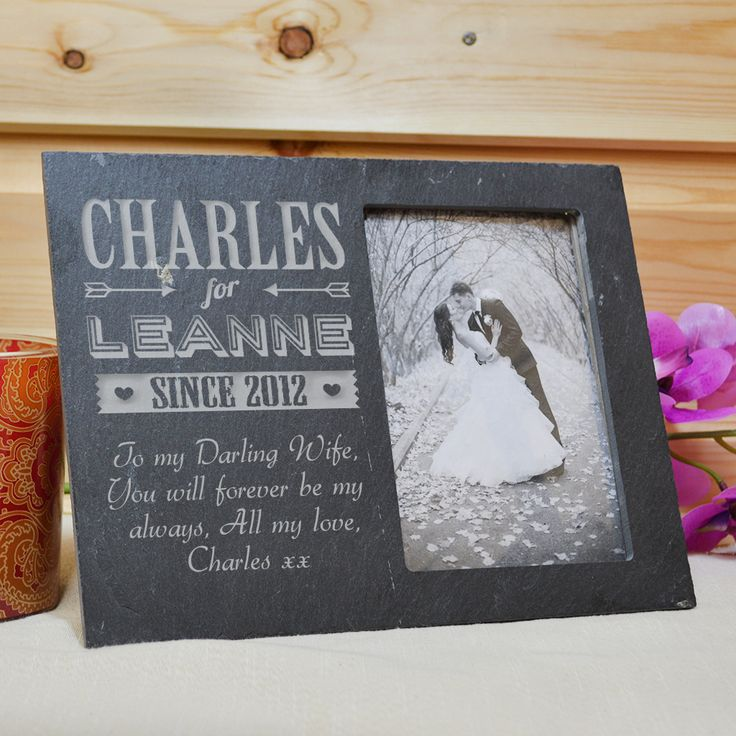 Personalised Slate Photo Frame With Couples Name - GiftsOnline4U
