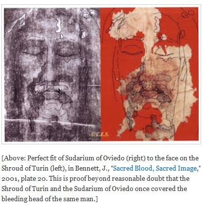 """[Above: Perfect fit of Sudarium of Oviedo (right) to the face on the Shroud of Turin (left), in Bennett, J., """"Sacred Blood, Sacred Image,"""" 2001, plate 20. This is proof beyond reasonable doubt that the Shroud of Turin and the Sudarium of Oviedo once covered the bleeding head of the same man.]"""
