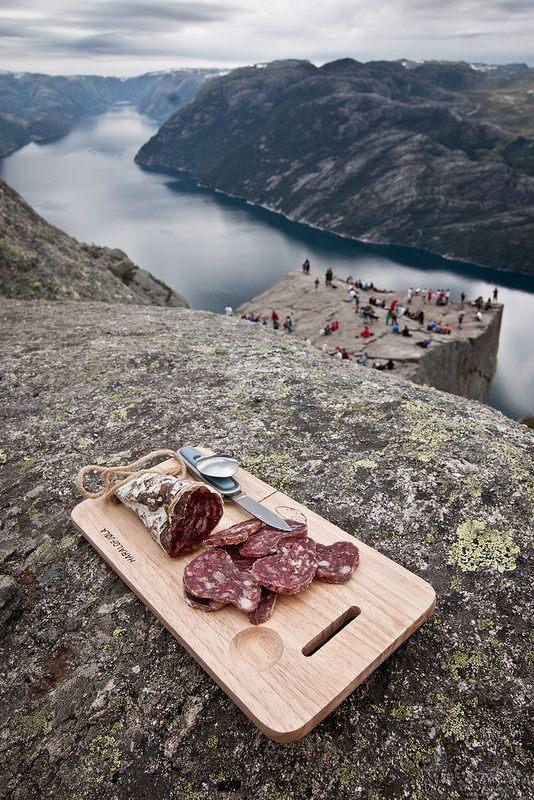 French dry sausage, the Preikestolen and the Lysefjord, close to Stavanger
