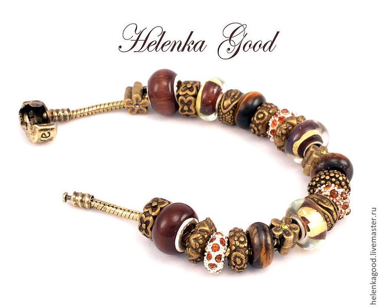 Купить Ореховый с золотом 54 Браслет Пандора - коричневый, браслет пандора, пандора, женский браслет