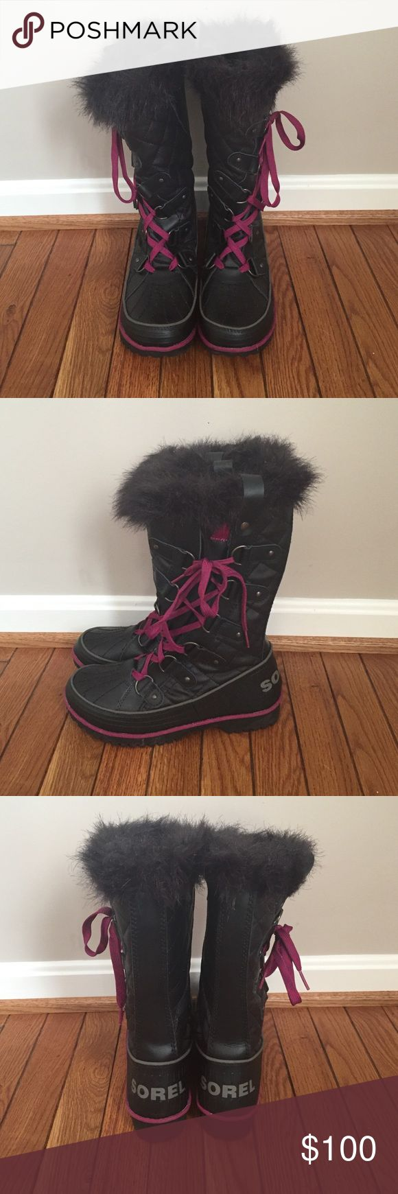 Women's Tall Sorel Snow Boots Worn once!!! Rubber bottom snow boots with warm thermal insulation and a faux fur decorative design around the calf. Stylish and unique lace up design SOREL Shoes Winter & Rain Boots