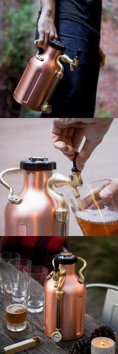 uKeg 128 Pressurized Growler for Craft Beer - Copper by GrowlerWerks @aegisgears  Love the design