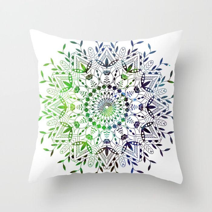 Green Mandala Throw Pillow Mandala design. #mandala #universe #space #galaxy #stars #2018 #magenta #moroccan #boho #bohemian #violet #ultraviolet #society6 #sboar #bohochic #interior #design #trends