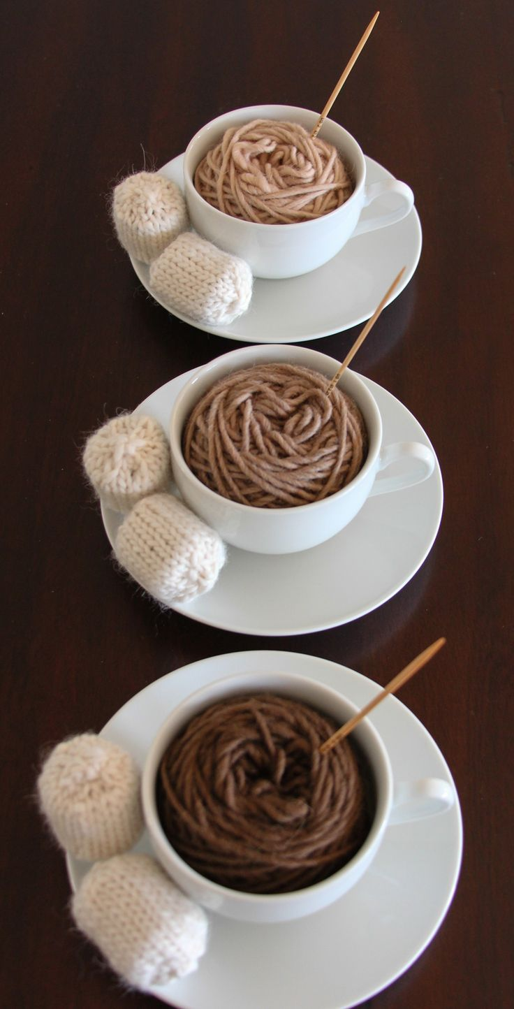 This is an absolutely brilliant photo. Hot beverages and yarn – two great ways to stay warm during the winter.