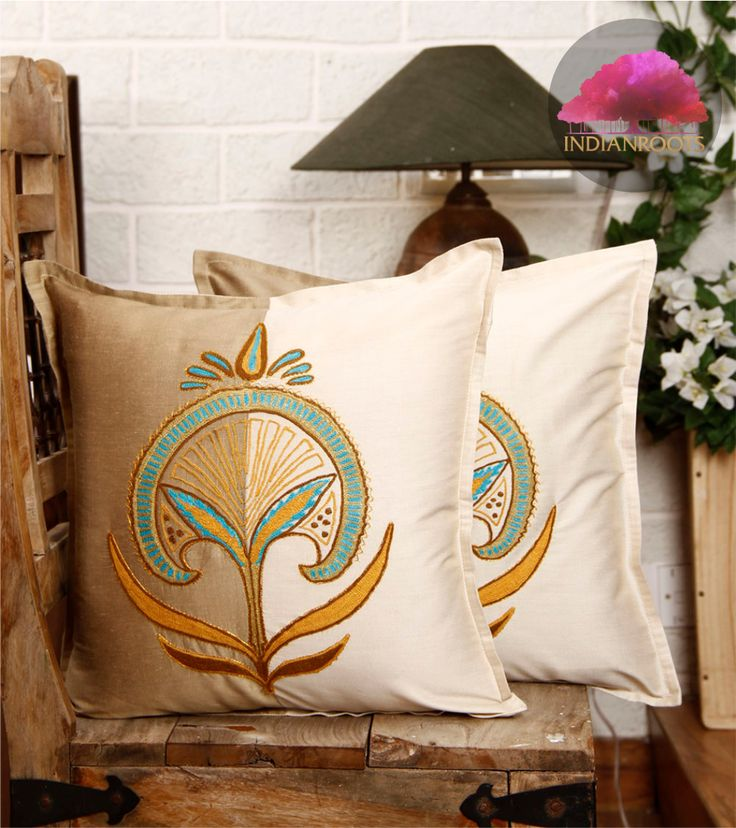 Beige Ivory Hand Embroidered Cushion Cover By Mohabbat