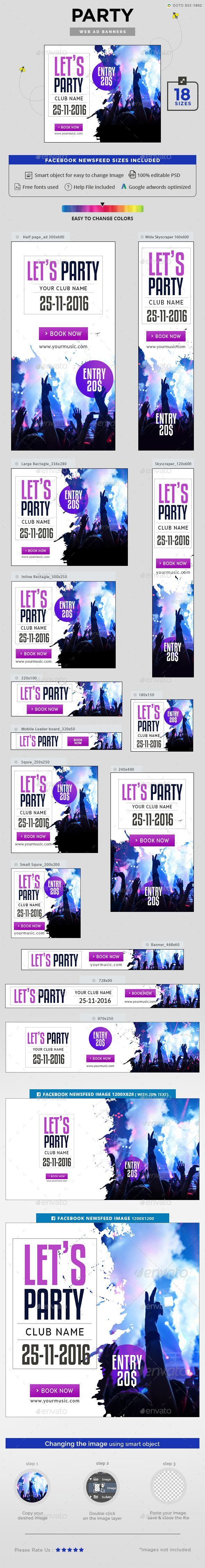 Party Banners Design template - Banners & Ads Web Elements Design Template PSD. Download here: https://graphicriver.net/item/party-banners/18957049?ref=yinkira