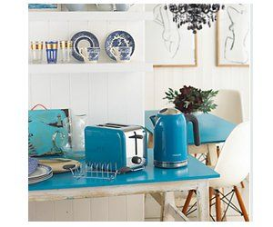 Blue kettle and toaster set.