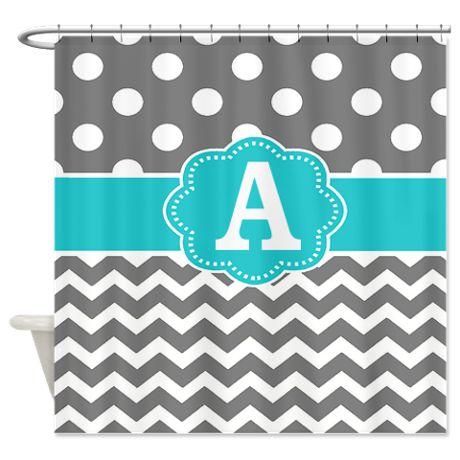 Gray Teal Chevron Dots Monogram Shower Curtain on CafePress.com