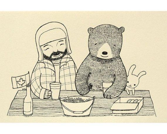 Lumberjack Print Bear Bunny Illustration Print Woodland