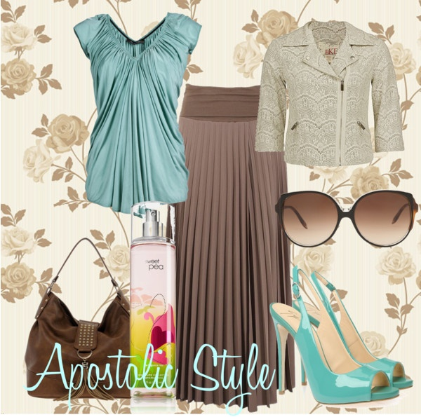 """Aqua and Brown; Apostolic Style"" by emmyholloway on Polyvore."