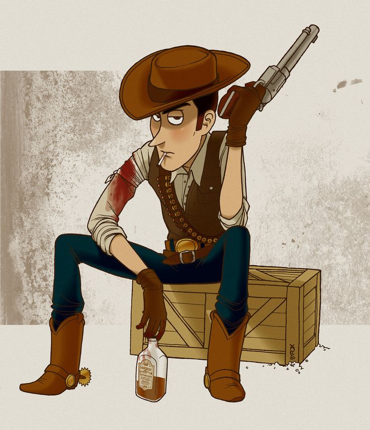 """The Good, The Bad And The Woody""    I beyond love this drawing."