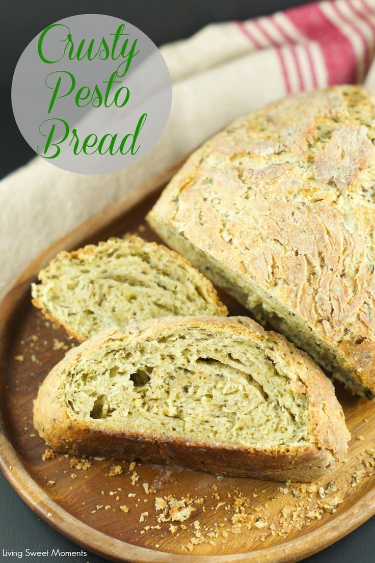no knead pesto bread: this crusty pesto bread is easy to make and full of delicious pesto flavor. It requires no kneading and is baked in a dutch pan. Yummy
