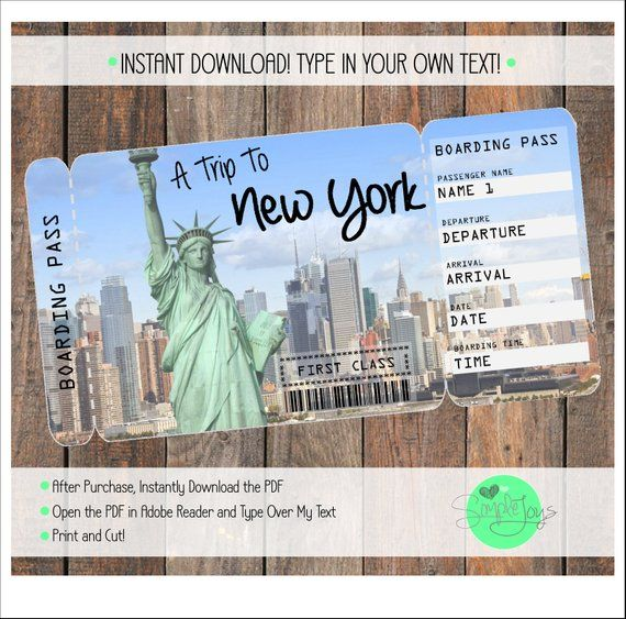 Printable Ticket to New York Boarding Pass, Customizable Template, Digital File – You Fill and Print